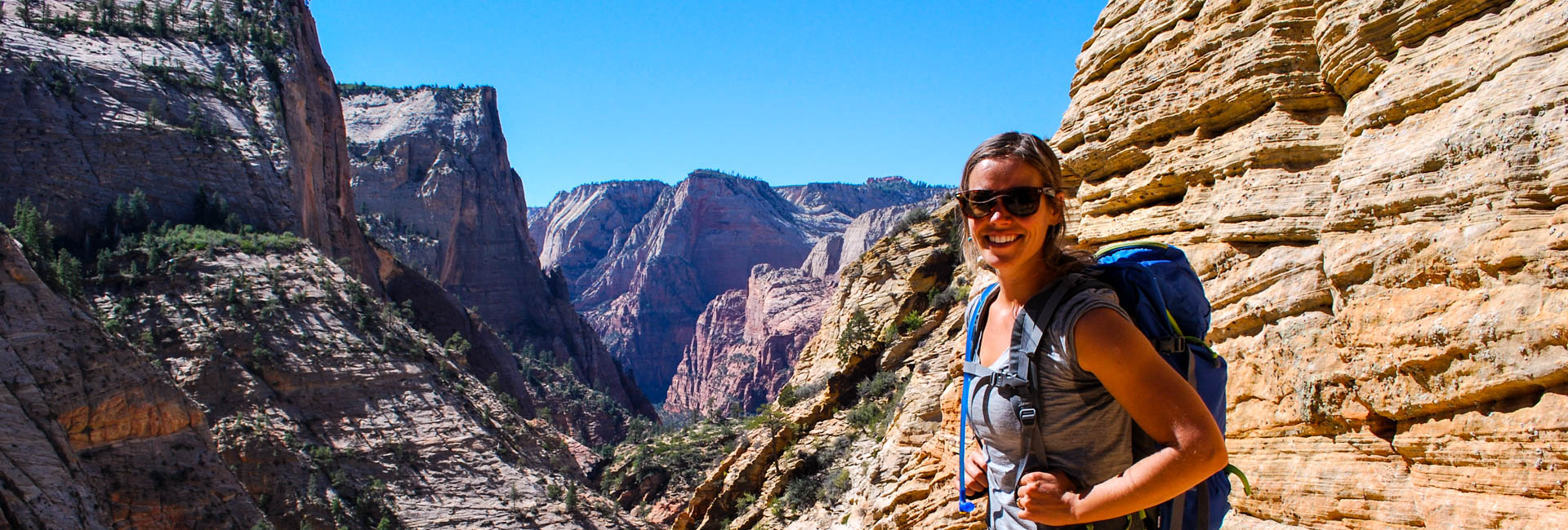 Solo hiker at Zion National Park