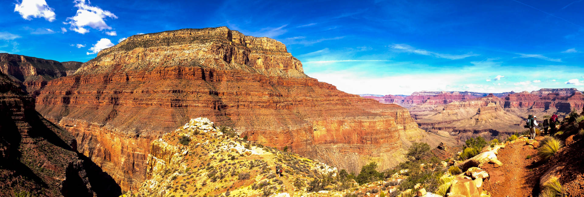 Hikers head down the trail on a self guided backpacking trip in Grand Canyon.