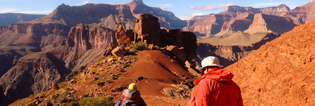 Hikers descend the trail on this private guided Grand Canyon trip!